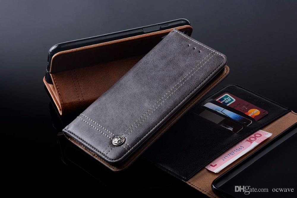 online retailer 474ec 1ae63 5.8 inch for iphone x case Luxury Leather Flip cover Stand Card Slot  Function Vintage Business style Wallet Cases for iphone x funda capa
