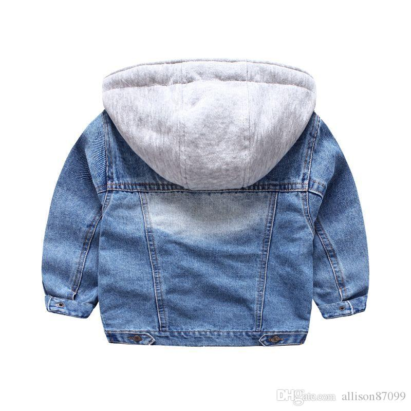 2018 New Kids Jacket washed Denim coat with hood knitted Fake Fall Winter boys outwear Fashion children Clothing quality