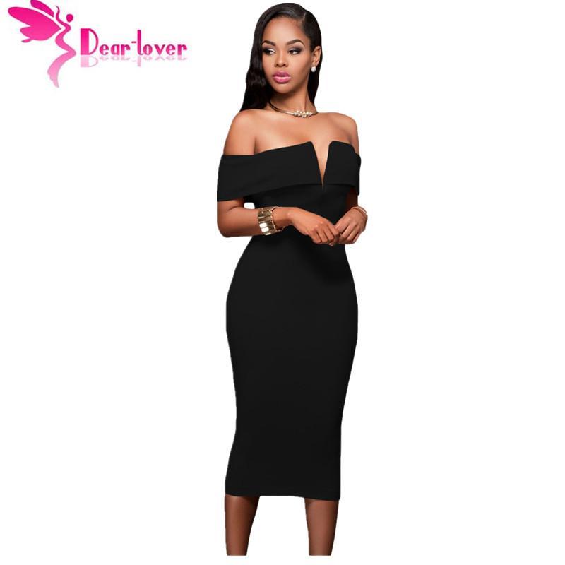 Dear Lover Midi Party Dresses Bodycon Slash Neck Vestido De Festa  Hot-selling Black Off-the-shoulder Midi Dress Clubwear LC61221 Q1113 High  Quality Dress ... 7f314baffe79
