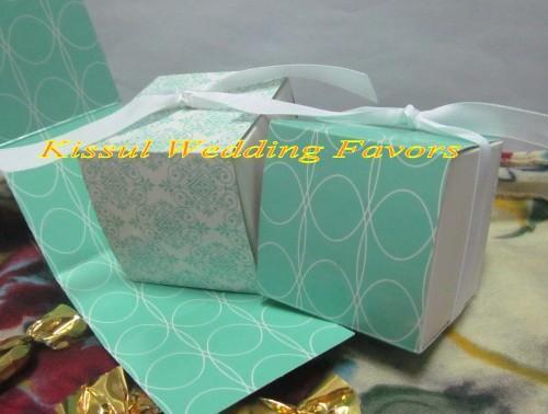 50 шт./лот идеальный свадебный подарок коробка обратимым Аква дамасской обернуть коробки для свадьбы и Партии пользу коробки и конфеты коробки
