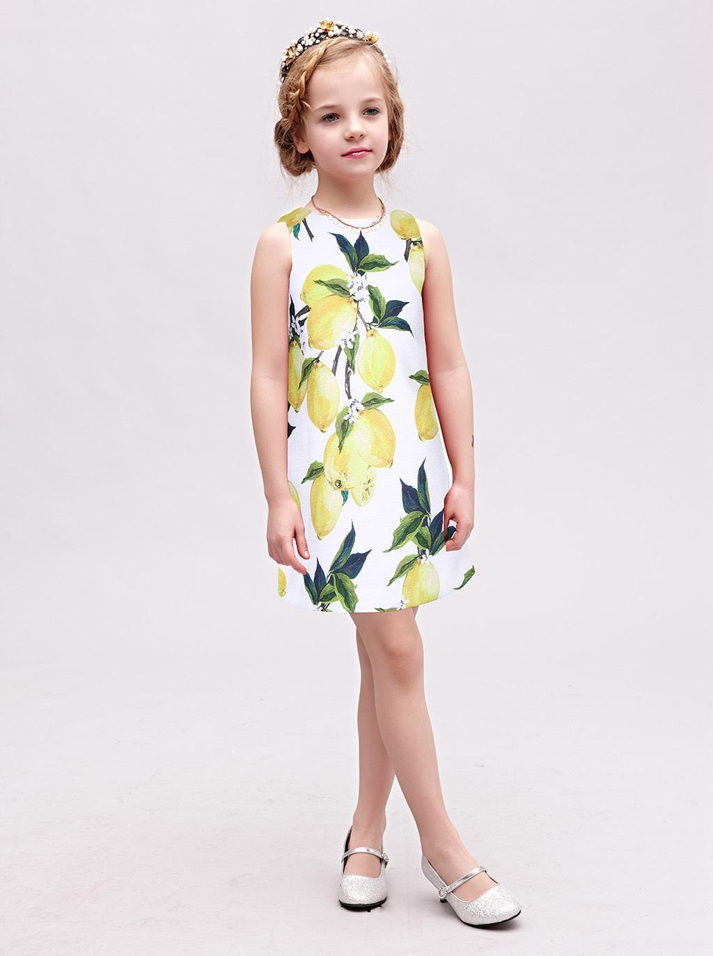 2017 New Arrivals Girl Tank Dress Lemon Pattern Kids Dresses For ...