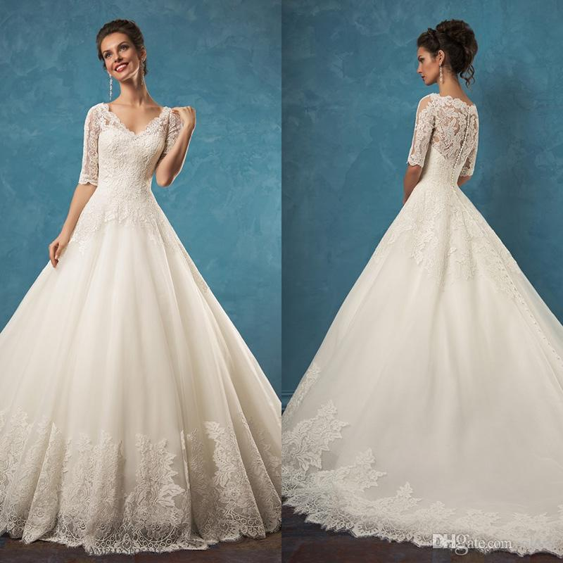 Discount Vintage Lace Wedding Dresses With Half Sleeves Skirt 2016 ...