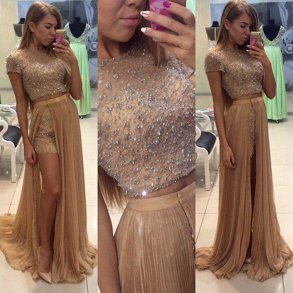 Gold 2016 Zweiteiler Prom Kleider mit kurzen Ärmeln Bling Perlen Pailletten Plissee Bodenlangen Lang Günstige Abend Formale Kleid Kleid