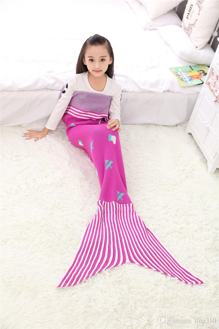 Wholesale-Christmas gifts Mermaid sleeping bag Kids Sofa Blanket Bedding Wrap xmas Deer Santa Claus blanket Mermaid Tail Blanket A0512