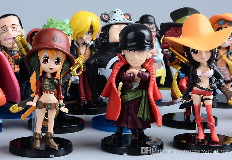 Аниме One Piece мини фигурки соломенные шляпы Луффи / Ророноа / Зоро / Санджи / измельчитель рисунок игрушки 9 шт.