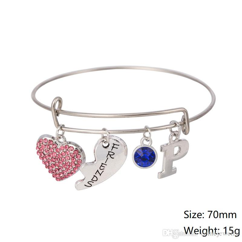 Myshape Cool Fashion Stainless Steel DIY Charms Bracelet Pink Crystal Couple Hearts Pendant Bangle Wristbands For Best Friends
