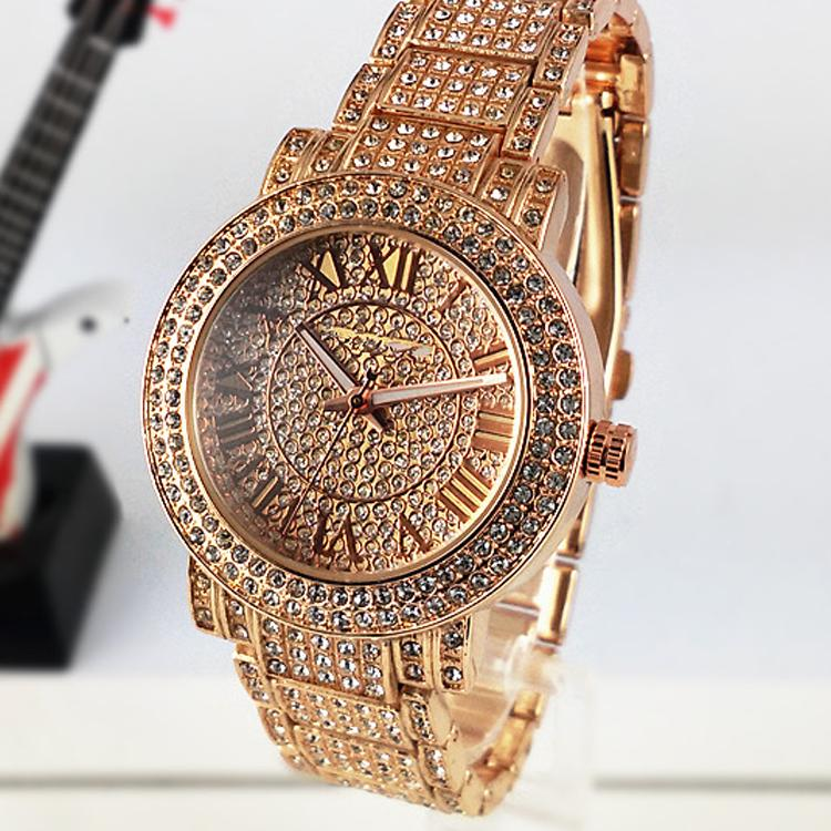 Hot luxury watches women watch top brand diamond dial band roman numerals quartz watches for for Watches for girls