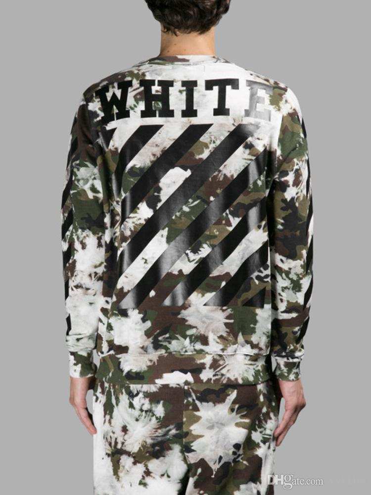 2017 2016 Autumn Ture Brand Off White Hoodie Camouflage Stripes ...