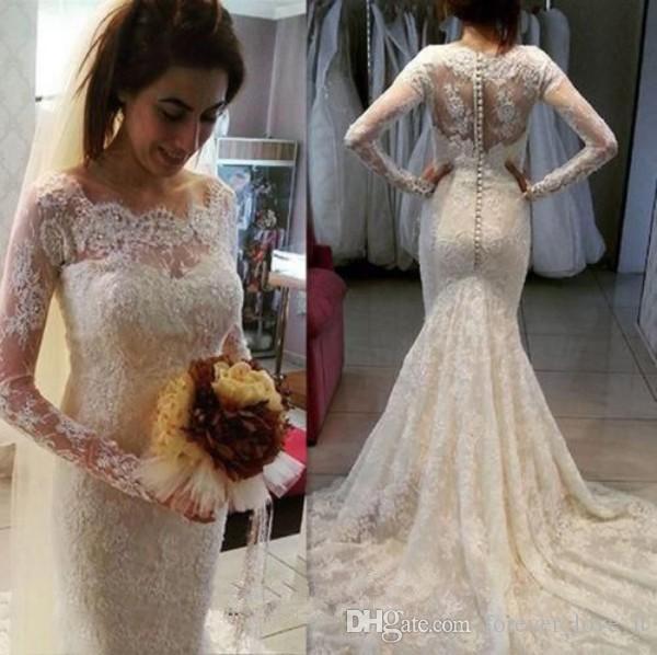 Vintage volle Spitze Brautkleider Meerjungfrau Sheer Muschelausschnitt Illusion Lange Ärmel Romantische Brautkleider mit Sweep-Zug