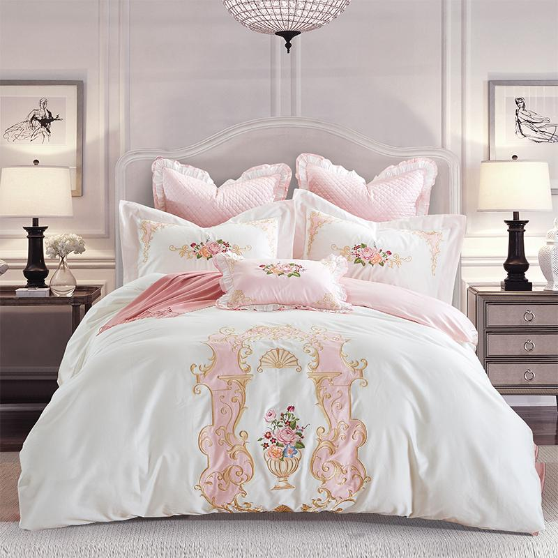 Egypt Cotton Satin Elegance Palace Luxury Bedding Set Embroidery Duvet  Cover Set Bed Sheet Pillowcases Queen King Size Duvet Set Bedding Online  From ...