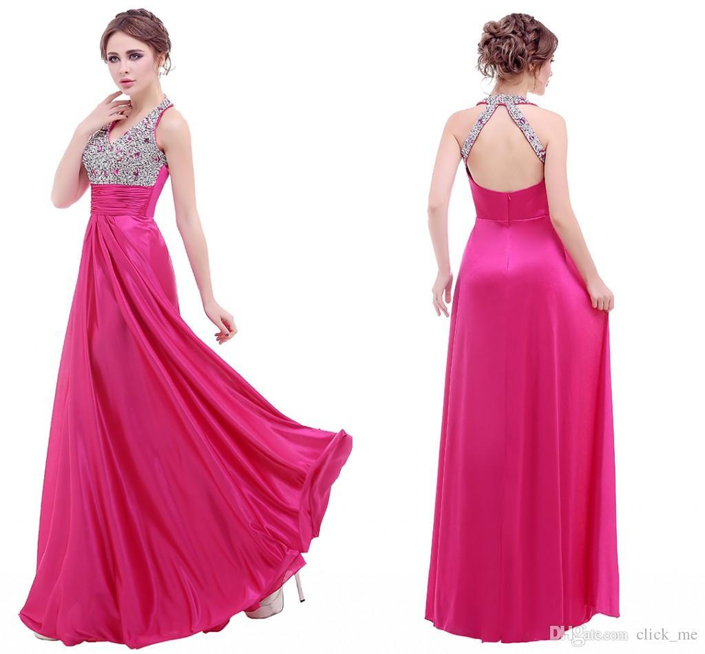 Compre Fushia Prom Dresses V Cuello Lentejuelas Cristales Plisados ...