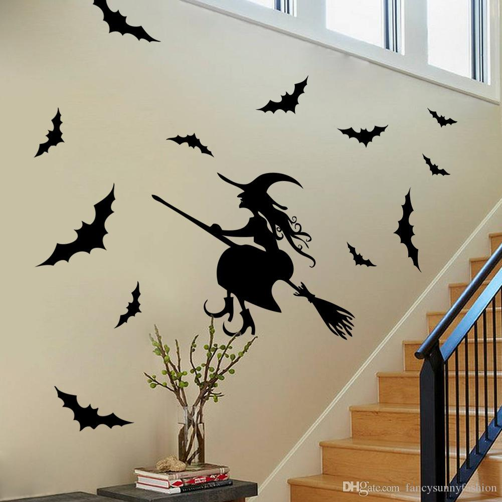 Halloween Decoration Wall Window Decals Black Witch Bats Pvc Water Proof Poster Pub Bar Supermarket Hotel Home Stickers Two Sides Viewable Decorative Vinyl ... & Halloween Decoration Wall Window Decals Black Witch Bats Pvc Water ...