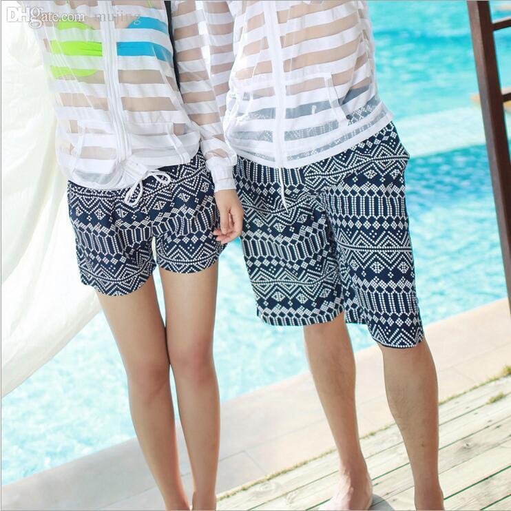 b36489ed1a7da Wholesale-Board Shorts Couple Beach Shorts Lovers Summer Printing ...