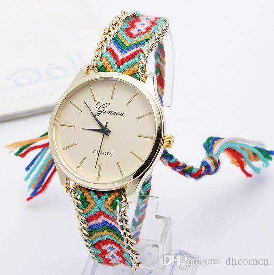 Cenevre El Yapımı Örgü Bilezik Saatler Renkli Kuvars Kadınlar için Casual Saatler Bez Dokuma Izle Altın Saatler