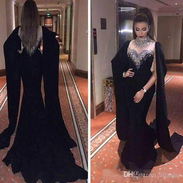 2018 Luxus Dubai Arabisch Haifa Wahbe Schwarze Meerjungfrau Abendkleider mit Cape High Neck Perlen Kristalle Prom Kleider Formale Party Kleider