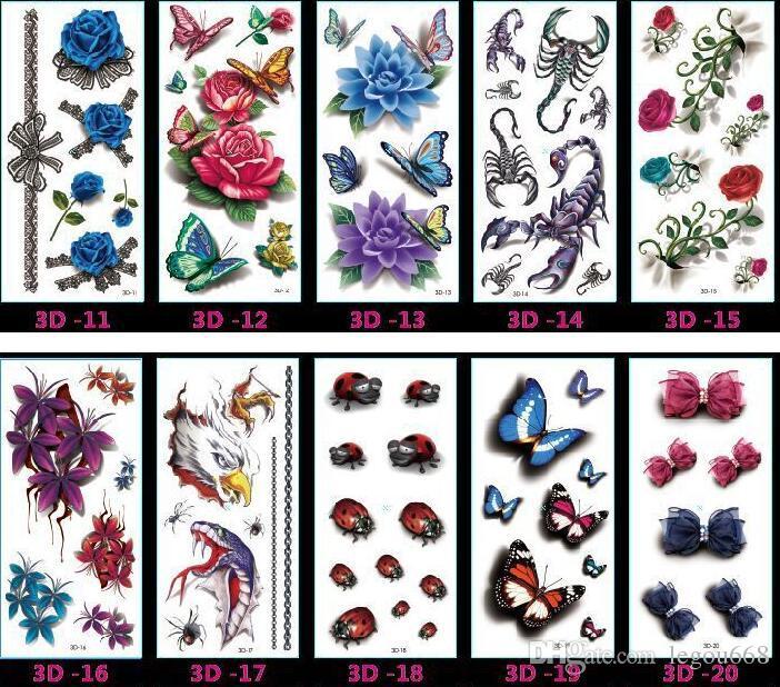 10.5x6 cm Yeni seks ürünleri Tasarım Moda Geçici Dövme Etiketler Geçici Vücut Sanatı Suya Dövme Desen HJIA658