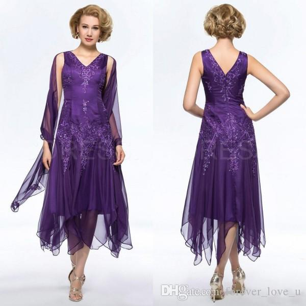 058655bff2 Fabulous Dark Purple Mother Of The Bride Dresses 2016 Tea Length Short Party  Dress V Neck Formal Wear With Beaded Embroidery And Wrap Mother The Bride  ...
