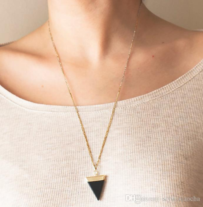 Hot kite Nature Stone necklace , Durzy Gold Plated Triangle Quadrihedron, Cute gift , and hign quality