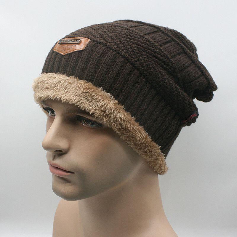 2016 Marca Gorros de Inverno Dos Homens de Malha Tampas Do Chapéu Skullies Gorro Chapéus de Inverno Para Homens Mulheres Beanie Fur Quente Malha De Lã de Malha chapéu