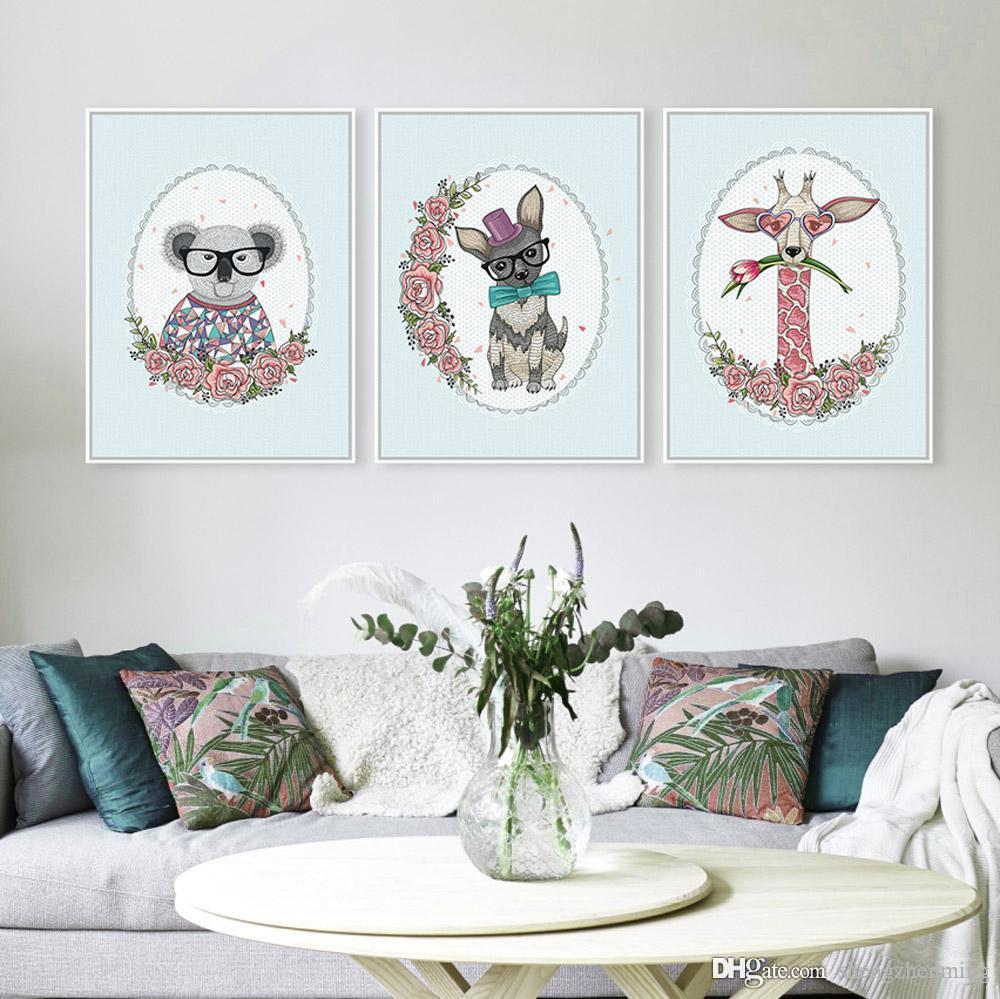2018 3 Panel Modern Kawaii Rural Floral Cottage Bedroom Drawing Hipster Wall Art Animals Flower Poster Prints Canvas Painting Gifts From Shengzhenming