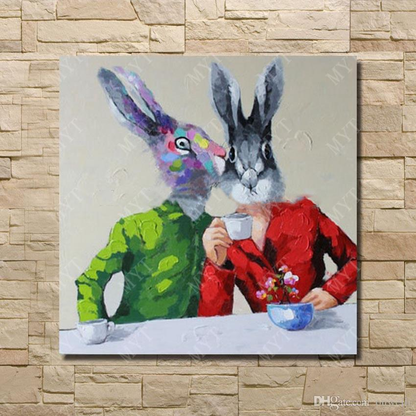 Hand drawing top quality handicrafts home decor Rabbit Animal head human body abstract picture oil paintings