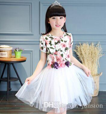 Girls Wedding Dresses Flower Dress Big Girl Princess Tutu Dresses Kids Print For Girl High Quality For Party Clothes Plus Size 130-160cm