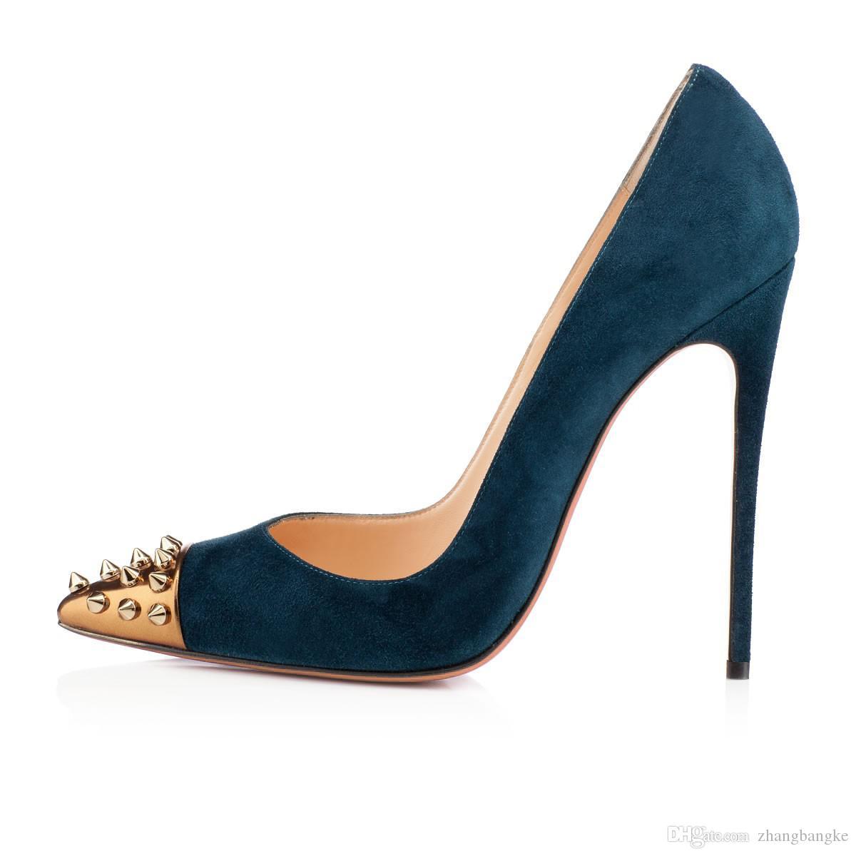 2016 женщины новая мода высокие каблуки туфли ну вечеринку обуви супер высокие каблуки заклепки туфли на шпильках острым носом большой размер EU 34 TO 45