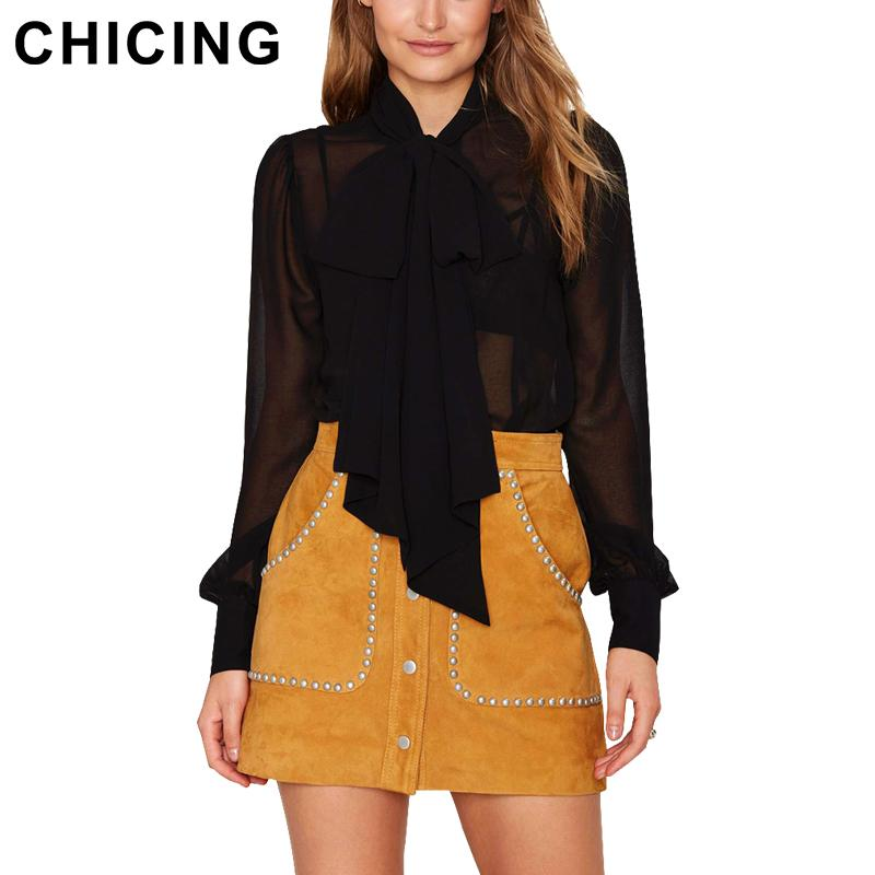 9ad4d2f2121cd5 2019 Wholesale CHICING Women Chiffon Blouses 2016 Pussy Bow Tie Lantern  Long Sleeve Transparent Tops Party Club Shirt Blusas Femininas B1512055  From Beke, ...