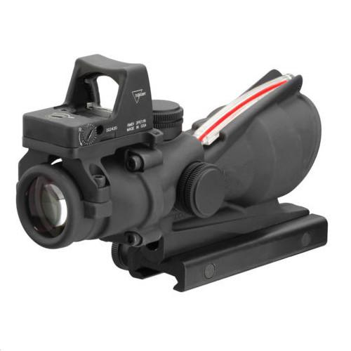 Tactical Trijicon Style 4X32 Real Fiber Source Duel Visor iluminado RMR Micro ACOG Style Rifle Scope con Micro Red Dot