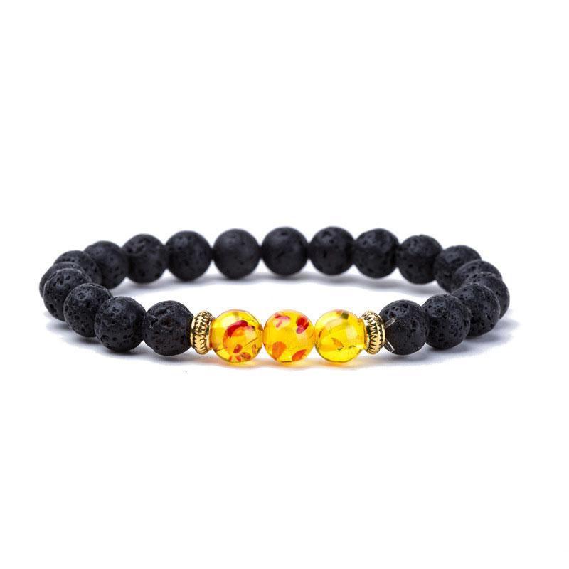 Commercio all'ingrosso New Natural Black Lava Stone Bracciali Reiki Chakra Healing Balance Beads Bracciale uomo donna Stretch gioielli Yoga