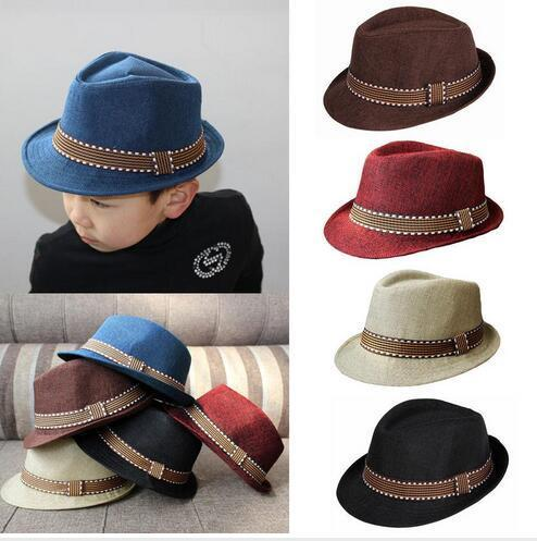 Fashion Kids Boy Girl Unisex Fedora Hats Cap for Children Contrast Trim Cool Jazz Chapeu Feminino Trilby Sombreros