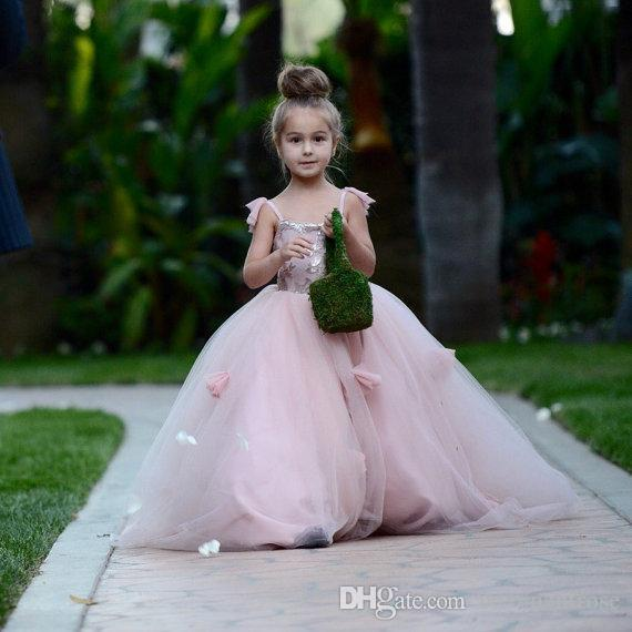 Allık Pembe Çiçek Kız Elbise Aplikler Spagetti Sapanlar Balo Ruffles Tül Çocuk Pageant communion elbise
