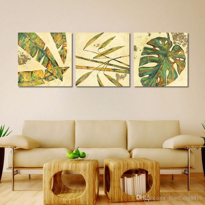 Green plant flowers leaves decoration red flower trees wall art picture Canvas Painting print for living room home unframed