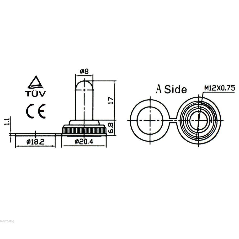 1 stück Schwarz Heavy Duty SPST 2 Terminal EIN / AUS Kippschalter Wasserdichte Kappe B00278