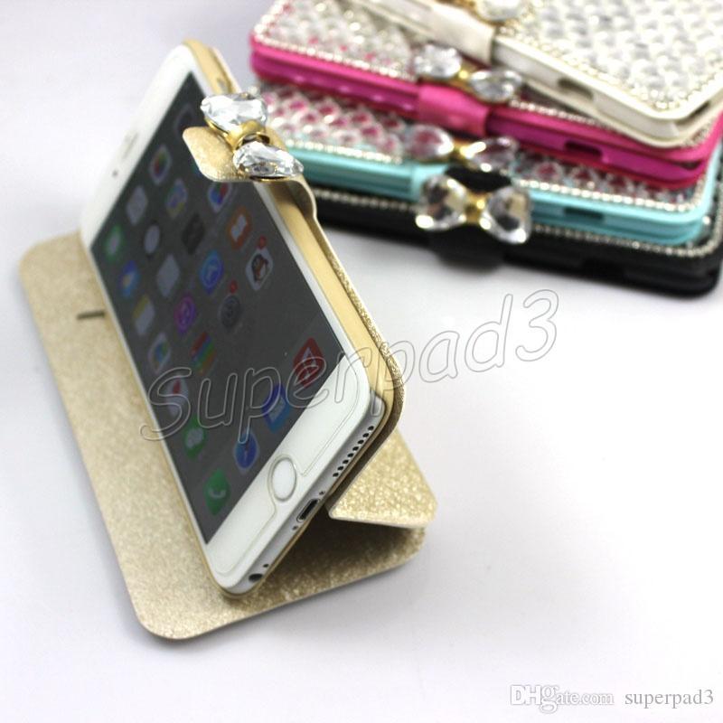 Lüks Bling Rhinestone Deri Kılıf Kapak Standı Cep Telefonu Kılıfı Için iPhone 7 i7 Artı iPhone 6 5 Samsung S6 Not 4