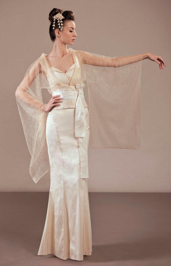 2016 Vintage Japanese Kimono Inspired Sheath Coloumn Sheer Lace Top ...