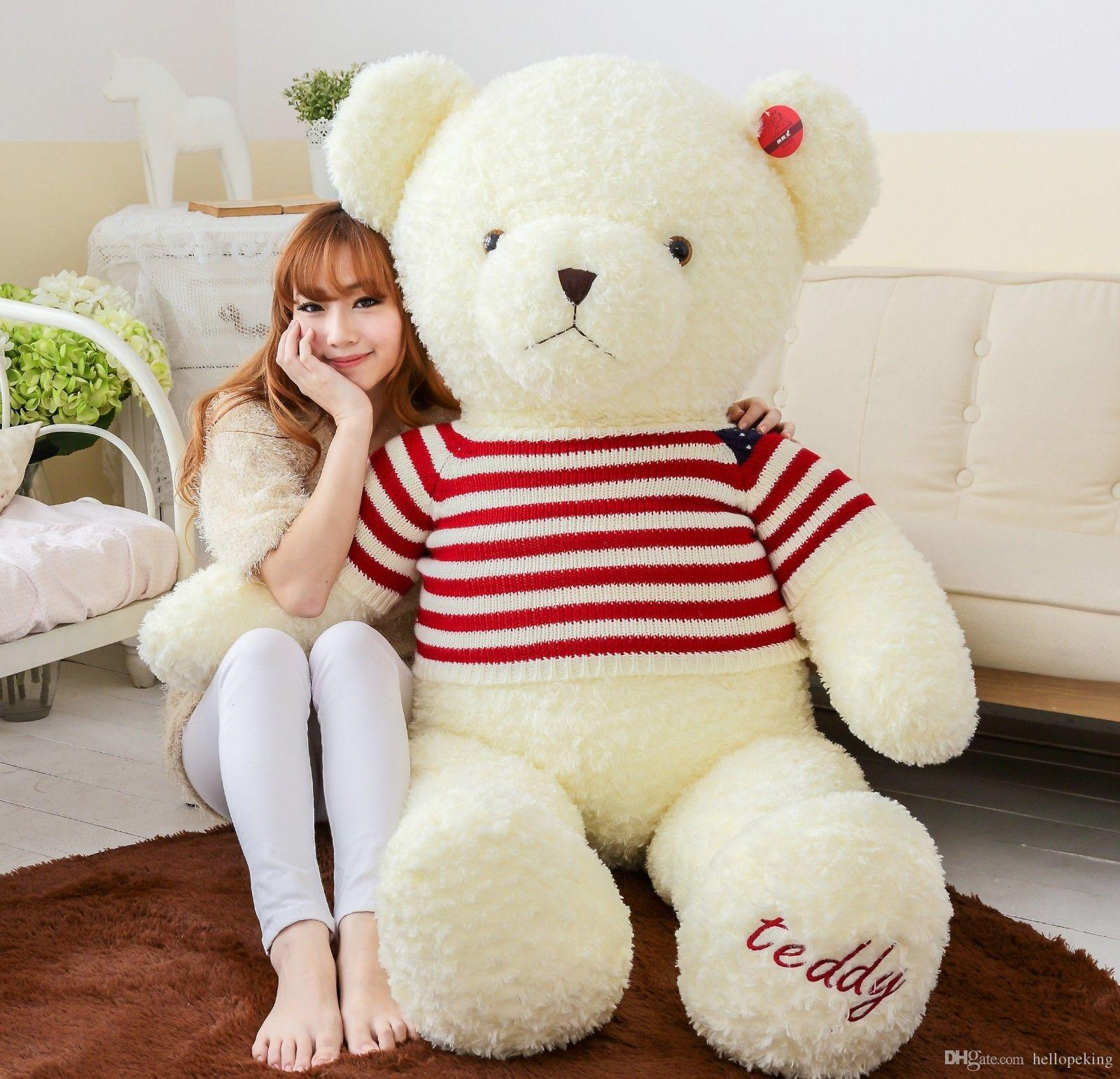 3d33a0b3ed3 2019 NEW 120cm47 GIANT HUGE BIG WHITE TEDDY BEAR STUFFED ANIMAL PLUSH SOFT  TOY From Hellopeking