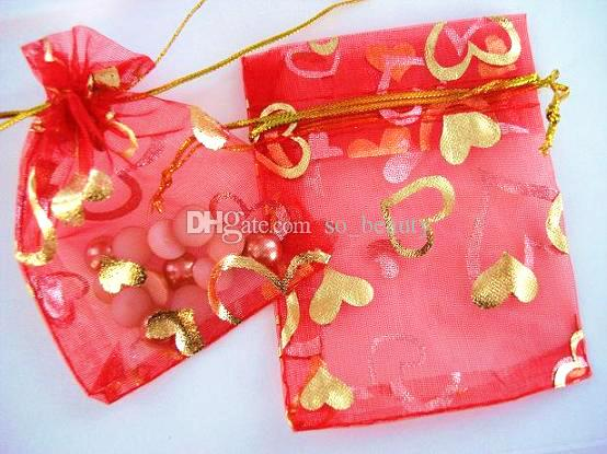 Gold Heart Organza Packing Bags Jewellery Pouches Wedding Favors Christmas Party Gift Bag 7 x 9 cm  2.75 x 3.5 inch
