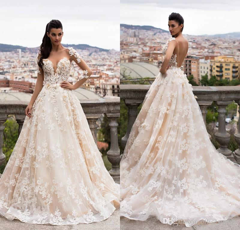 bb4fede1df3 Discount Romantic New Long Wedding Dresses 2018 Illusion Neck Long Sleeves  A Line Chapel Train Appliqued Lace Tulle Backless Bride Dresses Wedding  Dress ...