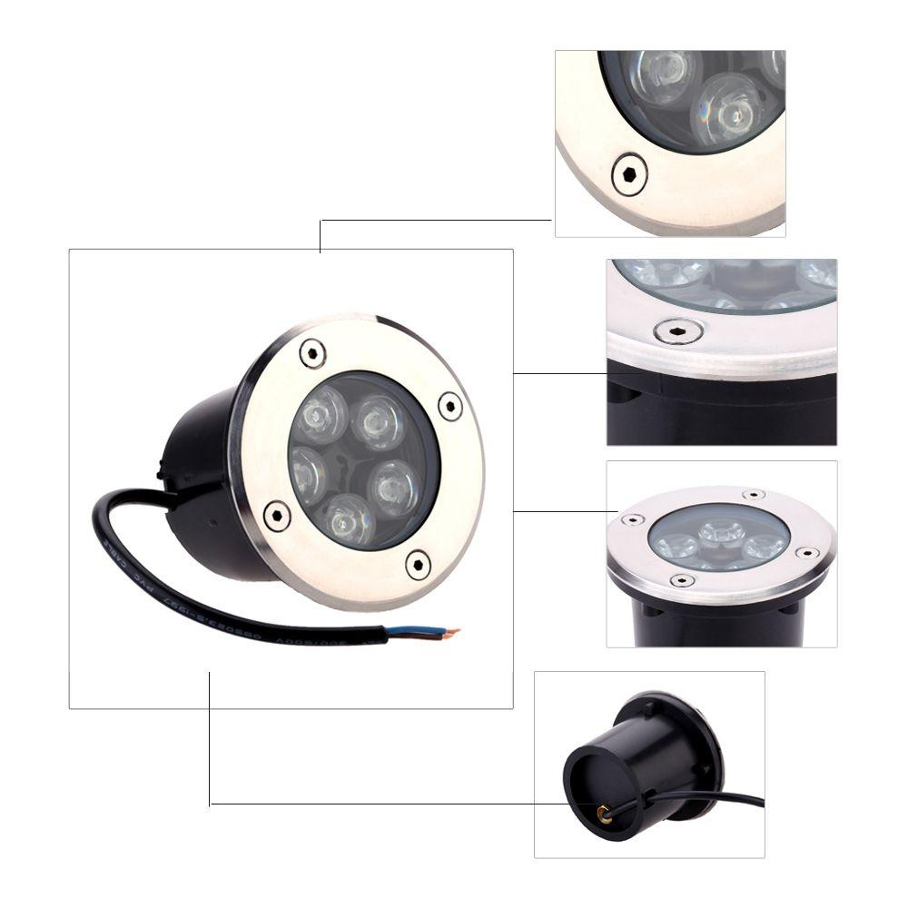 5W AC85-265V IP67 Étanche Extérieure LED Spot Light pour Jardin Ground Path Sol Souterrain Souterrain Lampe Lampara acero piso