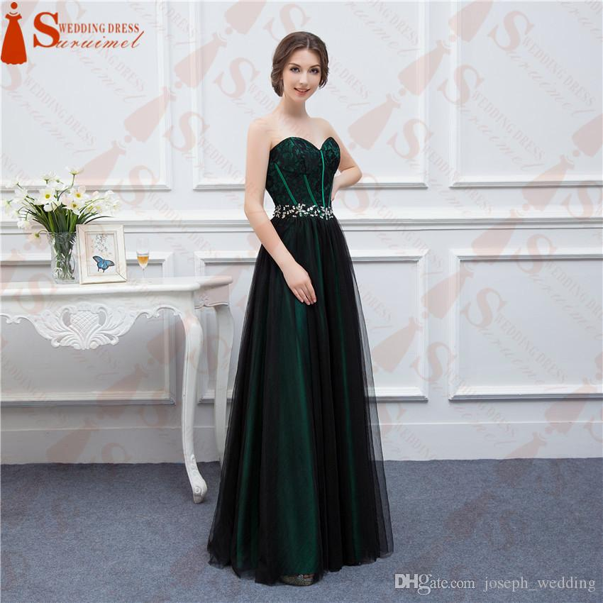 New Design Emerald Green Prom Dresses With Black Tulle Applique Beaded Long  Formal Evening Gowns Real Sample High Quality Prom Dresses Usa Prom Dresses  ... dddaa59d1a85