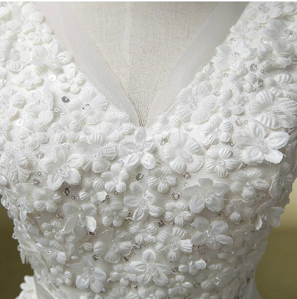 Tampado V Neck Cristal Organza Tulle vestido de Baile Vestido de Noiva Com Flores 2017 Até O Chão Vestidos de Noiva