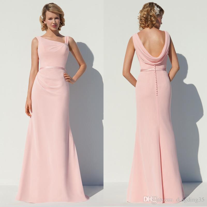 Compre 2016 Pink Gasa Vestidos De Dama De Honor Cabo De La Tarde Más ...