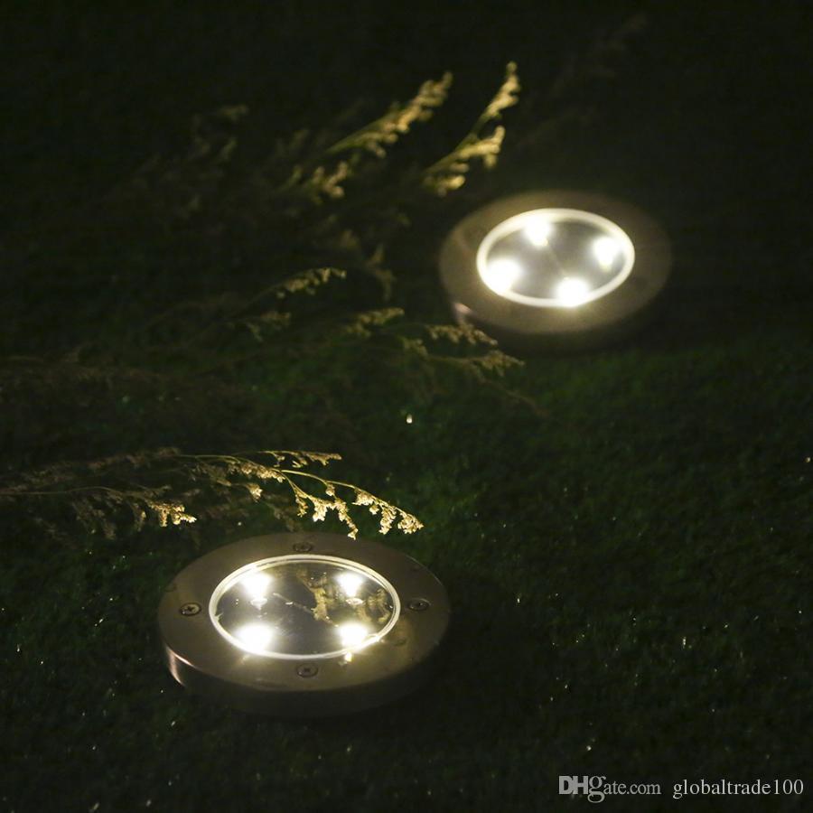 4 Pack 4 LED Solar Powered Lawn Lamps Ground Lights Al aire libre a prueba de agua Jardín luces con 4 LEDs blanco