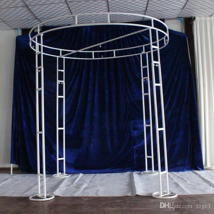 adjustable white 2m diameter 3m tall double circle double upright of wedding pipe and drape pavilion for wedding arch, chuppah