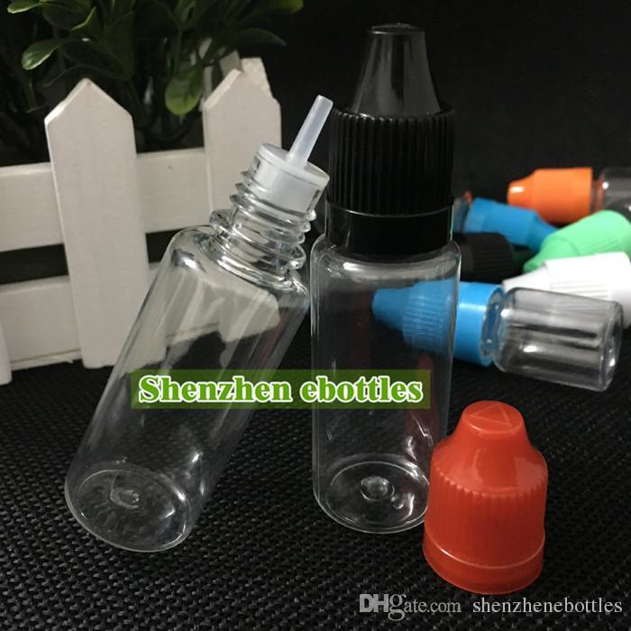Heißer Verkauf PET-Kunststoff-Flaschen 20ml Empty Bottle PET-Kunststoff-Tropfflaschen mit langen dünnen Spitzen und Kindergesicherte Caps PET-Flasche Nadel