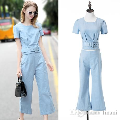 99a2016f77 2019 Women'S Bell Bottom Pant Suit Linen Blend Pant Suit Plus Size Ladies  Fashionable Trouser Suits For Work From Linani, $48.81 | DHgate.Com