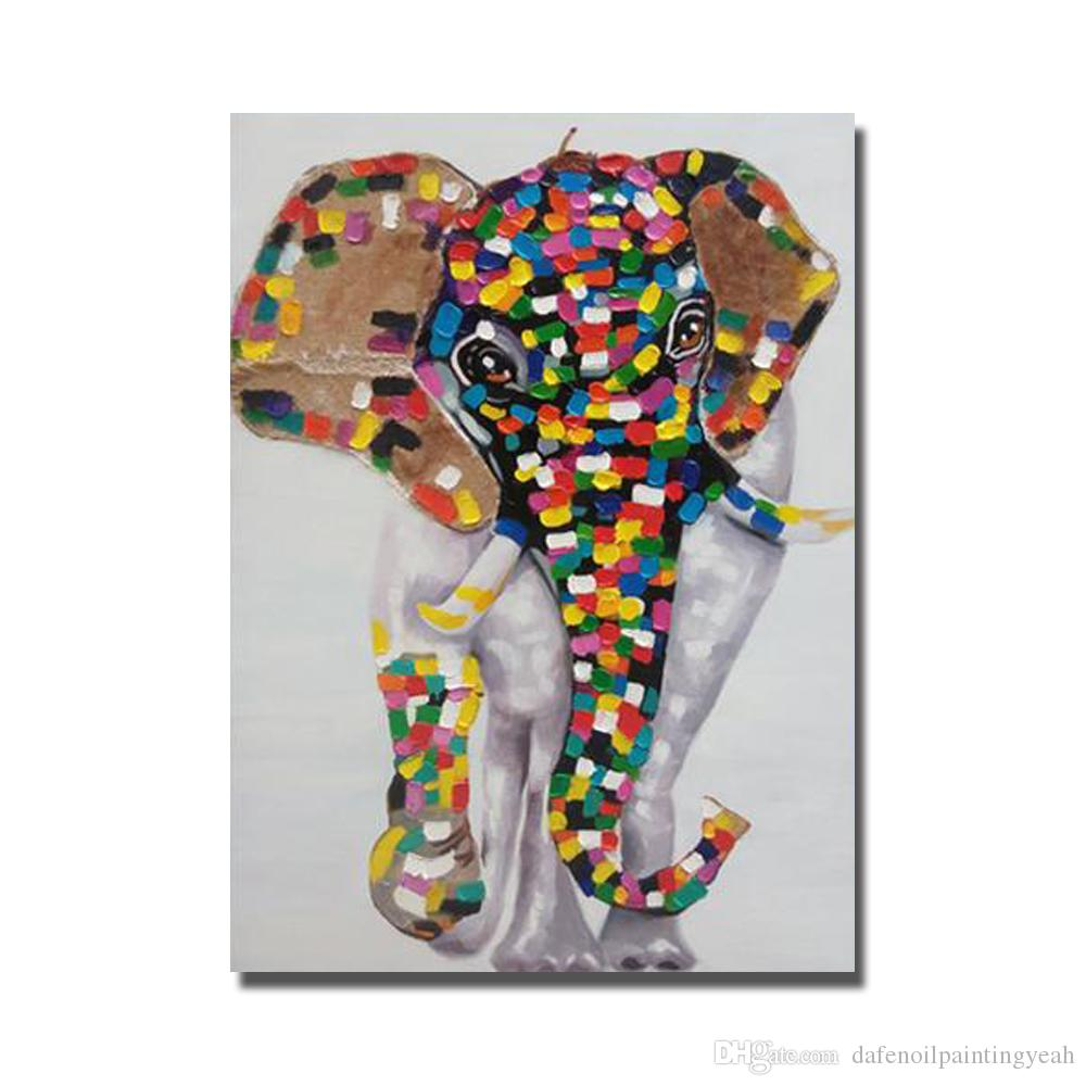 Colorful Elephant Painting For Living Room Wall Hand Painted Oil Painting on Canvas Decorative Wall Painting Hot Sale No Framed