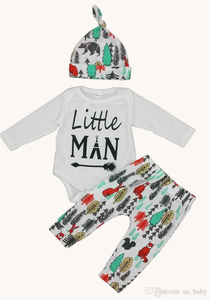Newborn Outfits Thanksgiving Day's cloth Boys Girls Casual Long Sleeve romper + Pants Legging + Hat Clothing Sets