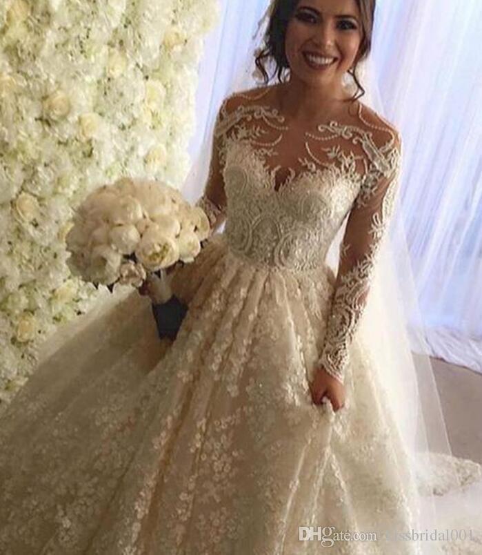 빈티지 전체 레이스 웨딩 드레스 긴 소매 아랍어 두바이 신부 가운 진주 구슬 크루 넥 덮여 botton 뒷 법원 열차